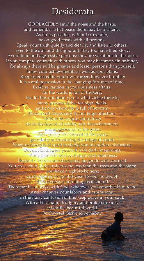 Poetry Painting - Sunset Desiderata - Inspirational Art - Sharon Cummings by Sharon Cummings