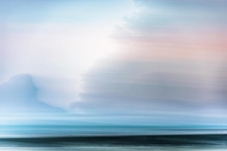 Sunset Glow On Blue Seascape Photograph