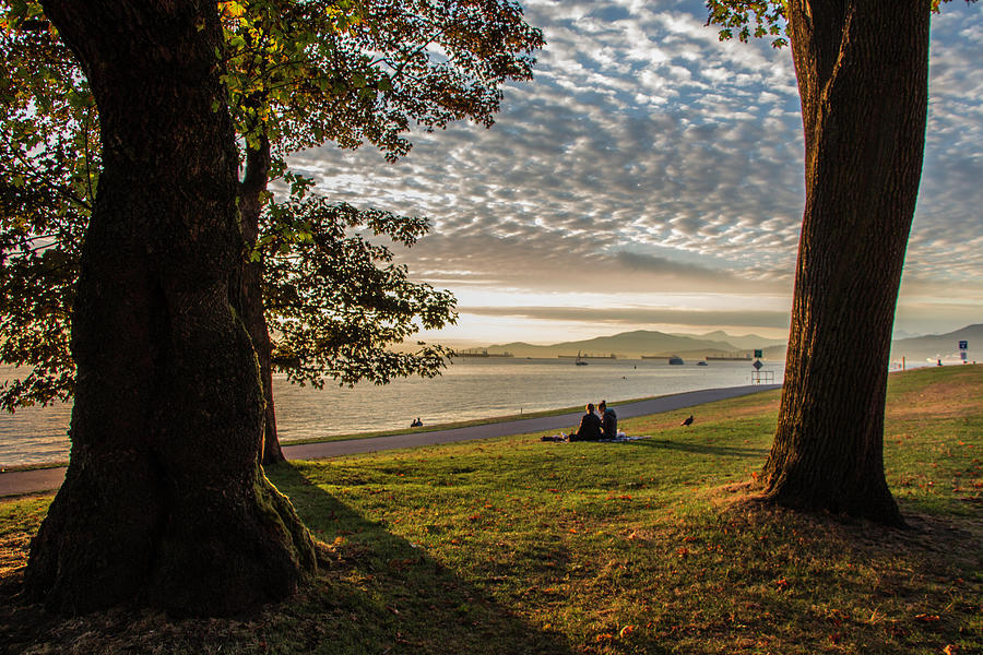 Landscape Photograph - Sunset in English Bay, Vancouver, Canada by Venetia Featherstone-Witty