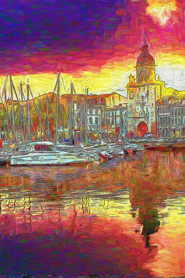 Sunset In La Rochelle, France Painting