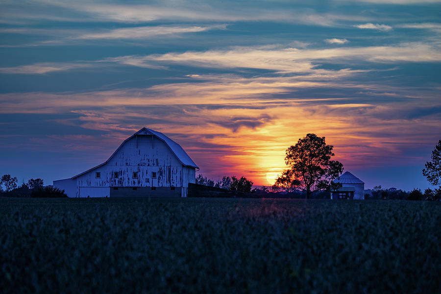 Landscape Photograph - Sunset in Rush County, Indiana by Scott Smith