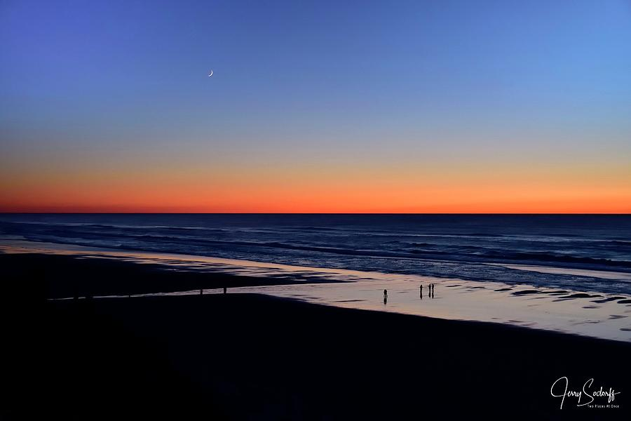Sunset Moon Over Surf by Jerry Sodorff