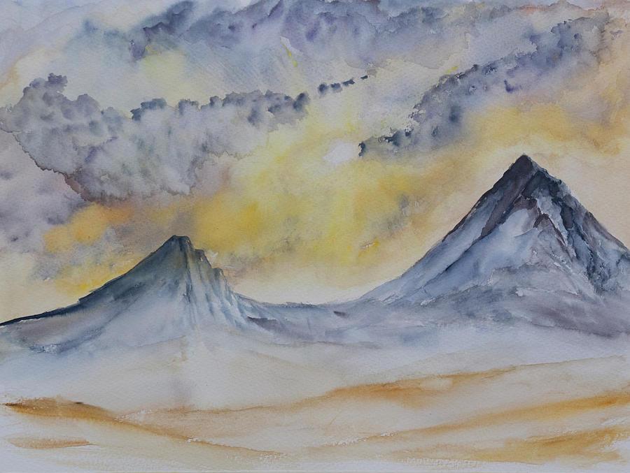 Sunset Mountain Peaks Painting