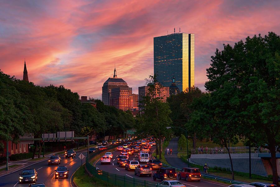Boston Photograph - Sunset Over Storrow Drive - Boston, Ma. by Joann Vitali
