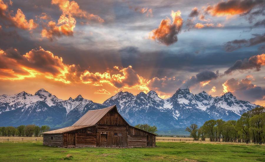 Sunset On Fire - Moulton Barn Photograph