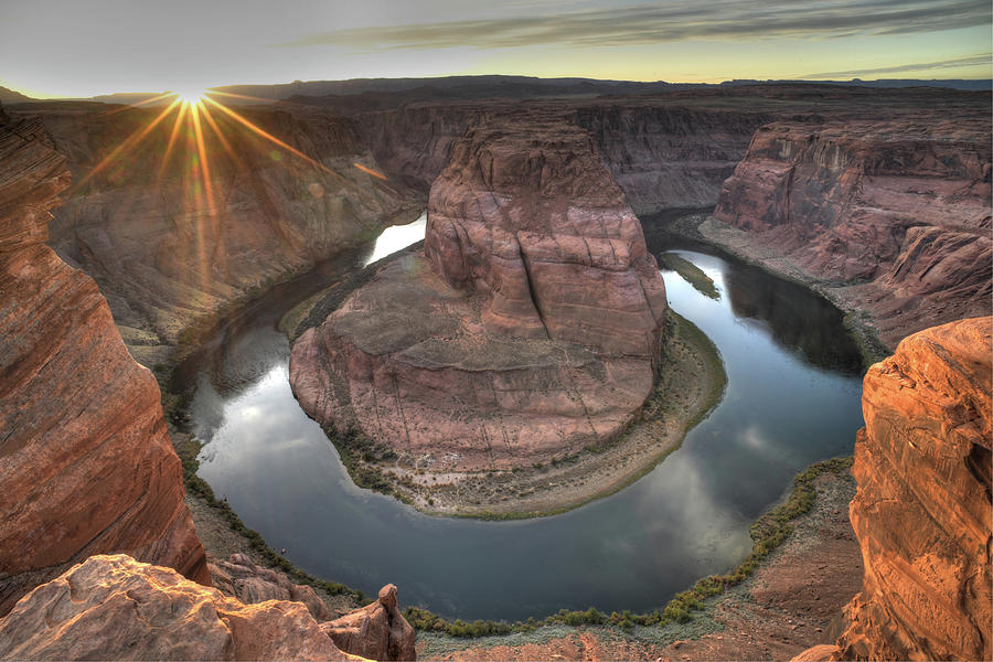 Horseshoe Bend Photograph - Sunset on Horseshoe Bend by Mark Langford