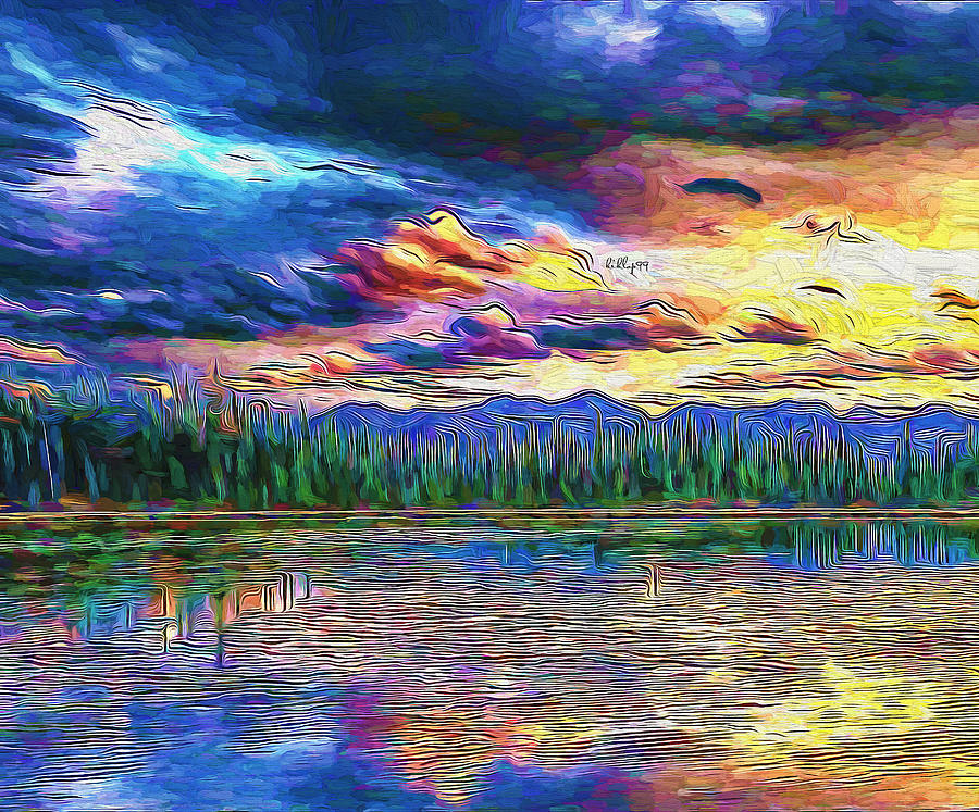 Sunset On Lake 3 Painting