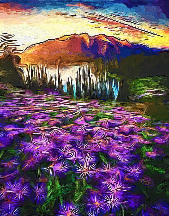 Sunset On Mountain Lake Painting