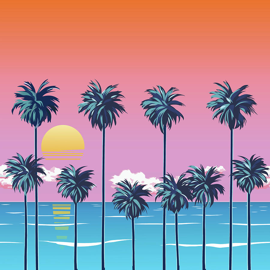 Sunset On The Beach With Palm Trees, Turquoise Ocean And Orange Sky With Clouds. Sun Over The Horizon. Tropical Surfing Beach. Drawing