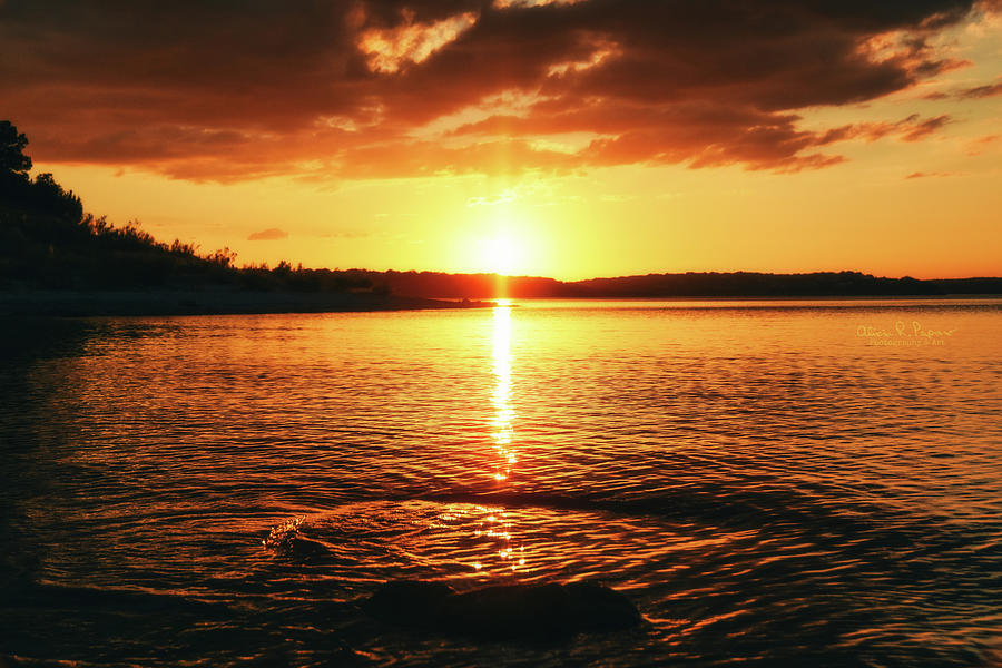 Water Photograph - Sunset On The Lake by Alicia R Paparo