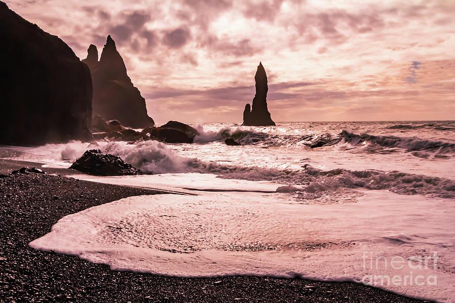 Sunset on the Reynisfjara Black Sand Beach, Iceland by Lyl Dil Creations