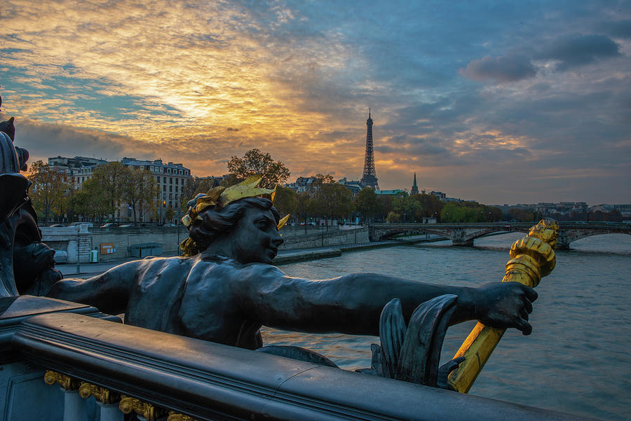 Sunset Photograph - Sunset on the Seine River by Mike Brown