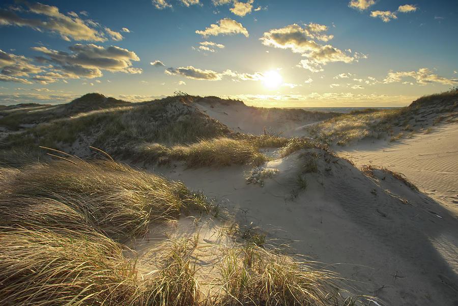 Sunset Photograph - Sunset over Cape Cod Dunes at Great Island Beach Wellfleet by Dapixara Art