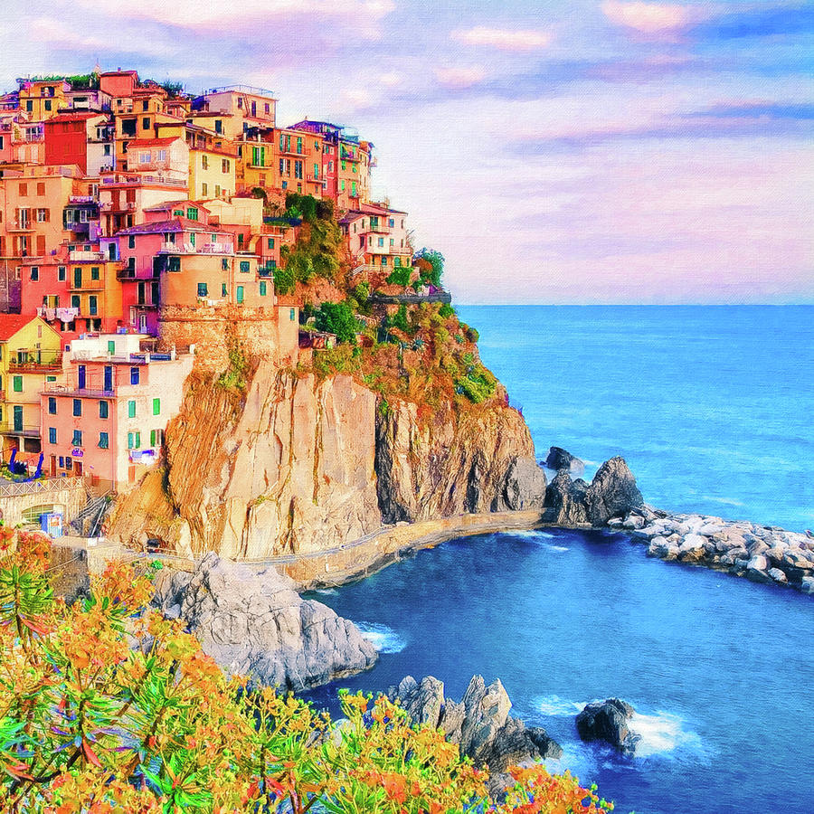 Sunset Over Manarola Cinque Terre Italy Painting By Safran Fine Art