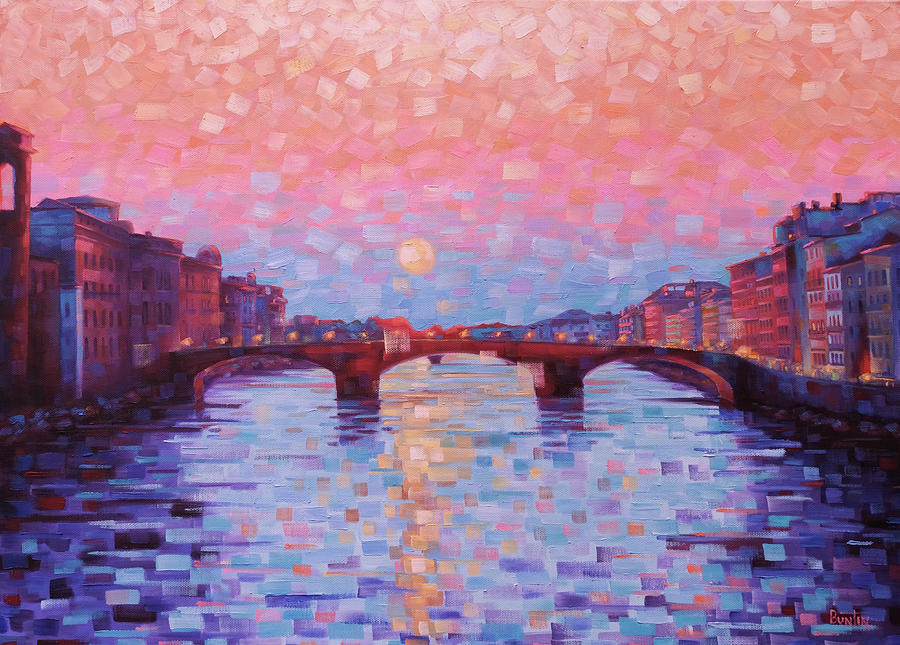 Florence Italy Painting - Sunset over the Arno by Rob Buntin