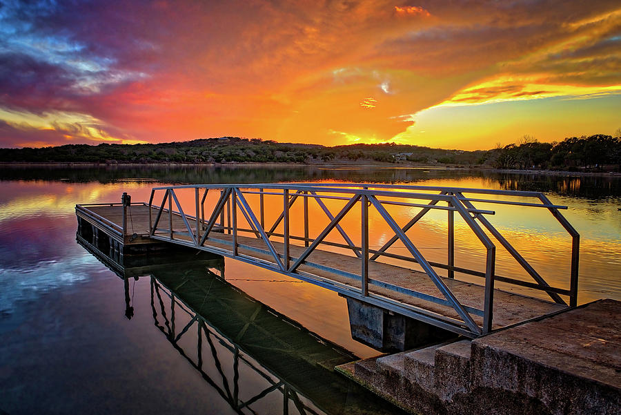 Sunset Over the Boat Dock at Boerne City Park by Lynn Bauer