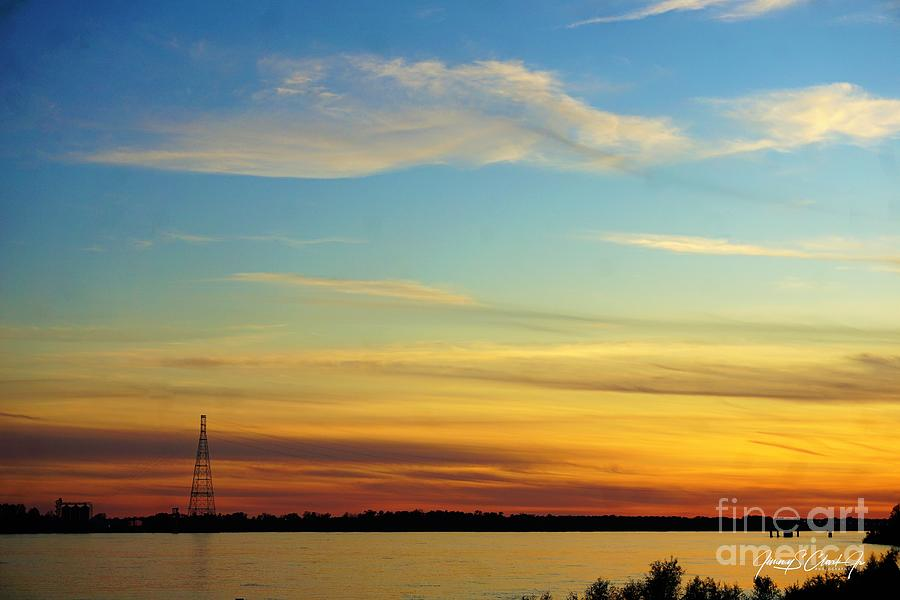 Sunset over the Mississippi River by Jimmy Clark