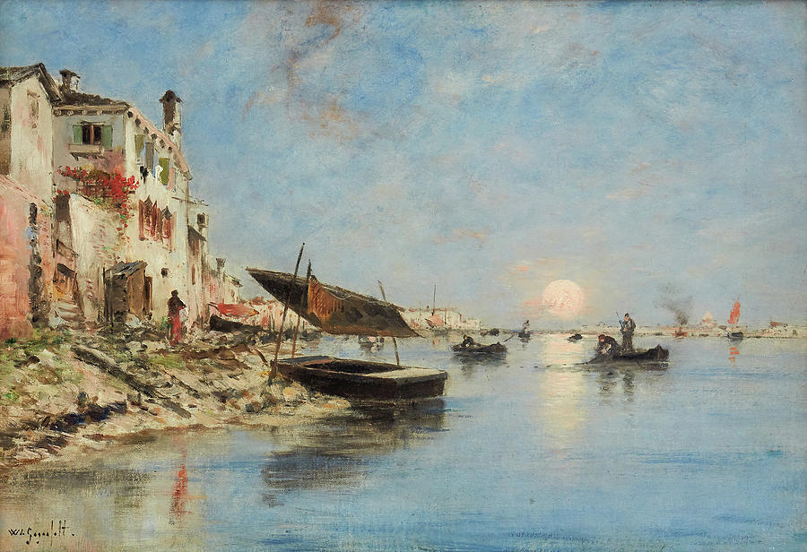 Sunset Over  Venice Painting