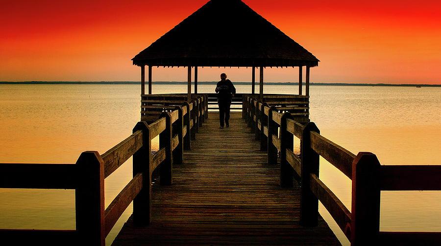 Beaches Photograph - Sunset Pier Walk by Steven Norris