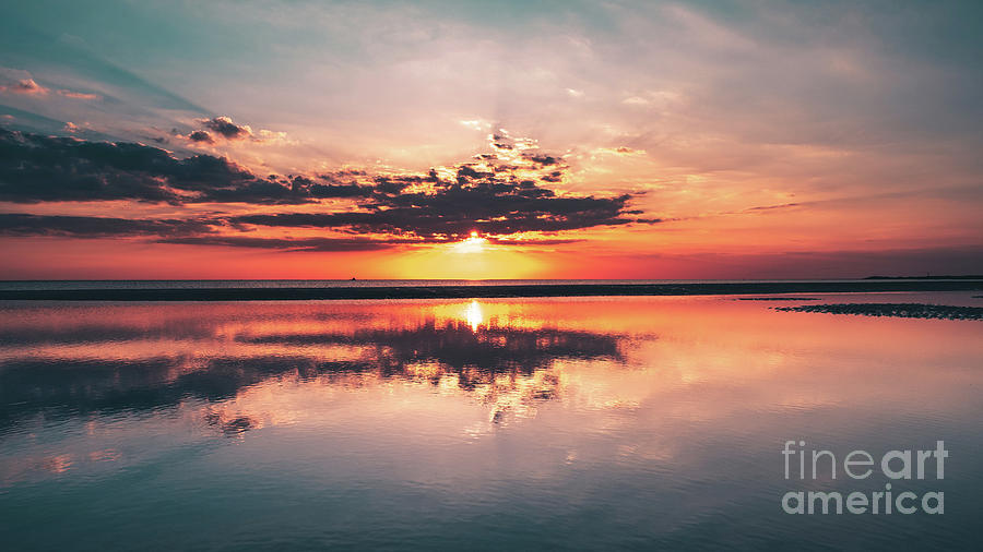 Sunset Reflections From Crosby Beach Photograph