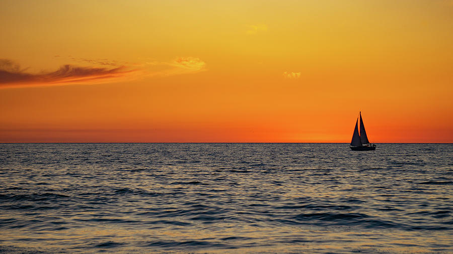 Sunset Photograph - Sunset Sail by GraphiGlyphics Photography