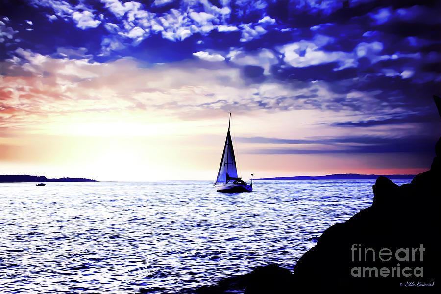 Landscape Photograph - Sunset Sailing At Edmonds Washington by Eddie Eastwood