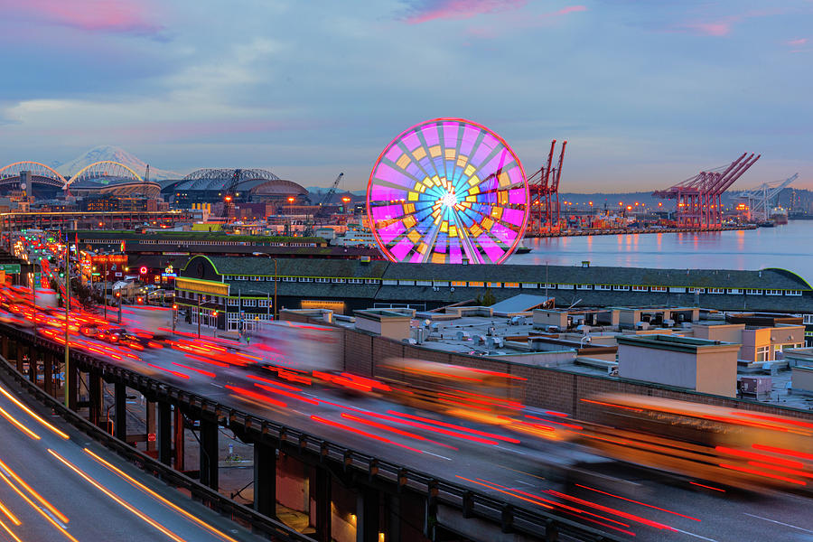 Sunset Seattle Waterfront by Michael Lee