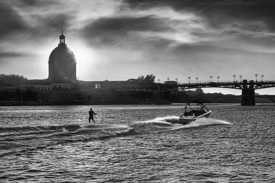 Sunset Water Ski Garonne River Toulouse France Black And White Photograph
