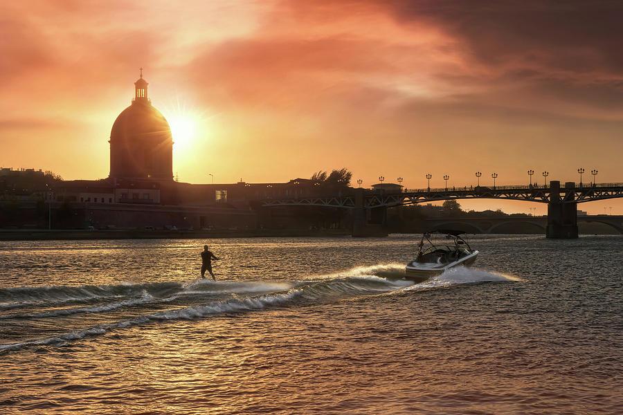 Sunset Water Ski Garonne River Toulouse France Photograph