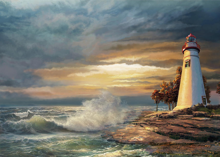 Sunset With Ohio Marble Head Lighthouse Painting