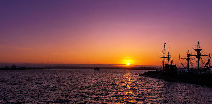 Sunsetting over San Diego Bay by Cathy Anderson