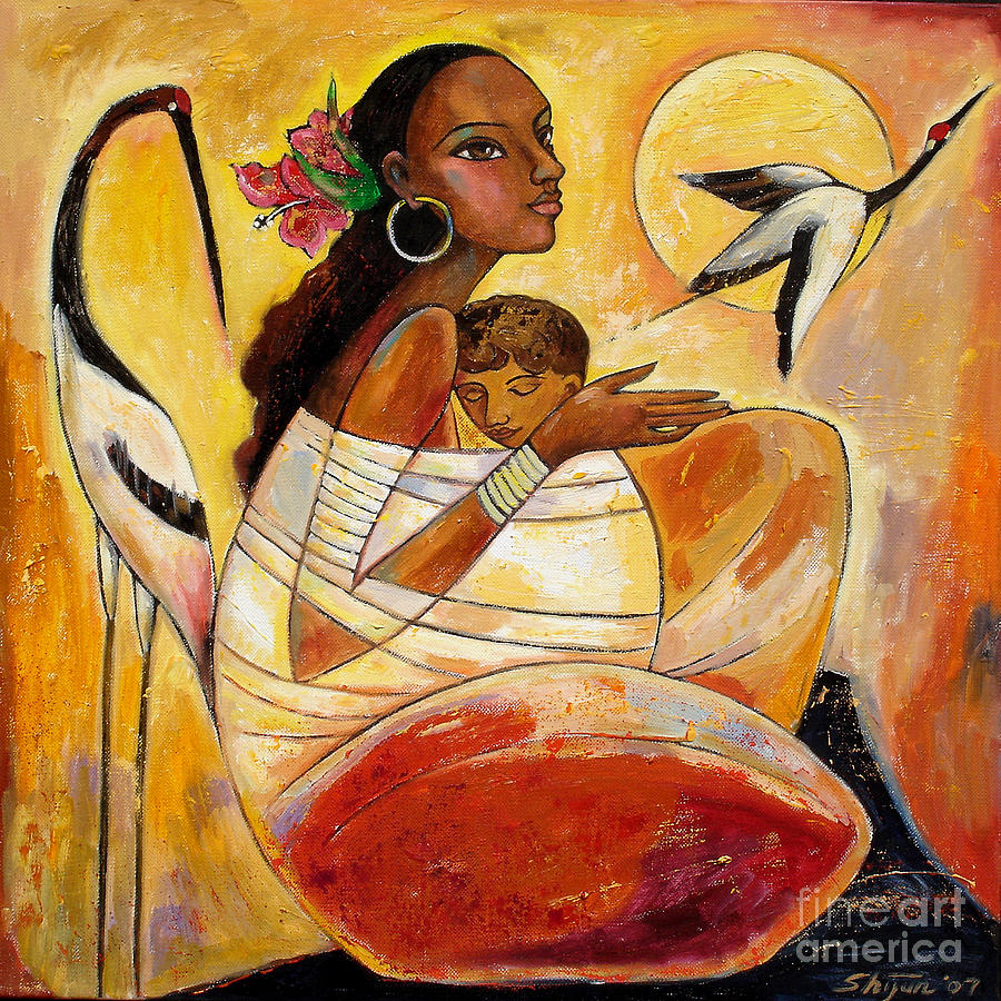 Mother And Child Painting - Sunshine Mother and Child by Shijun Munns