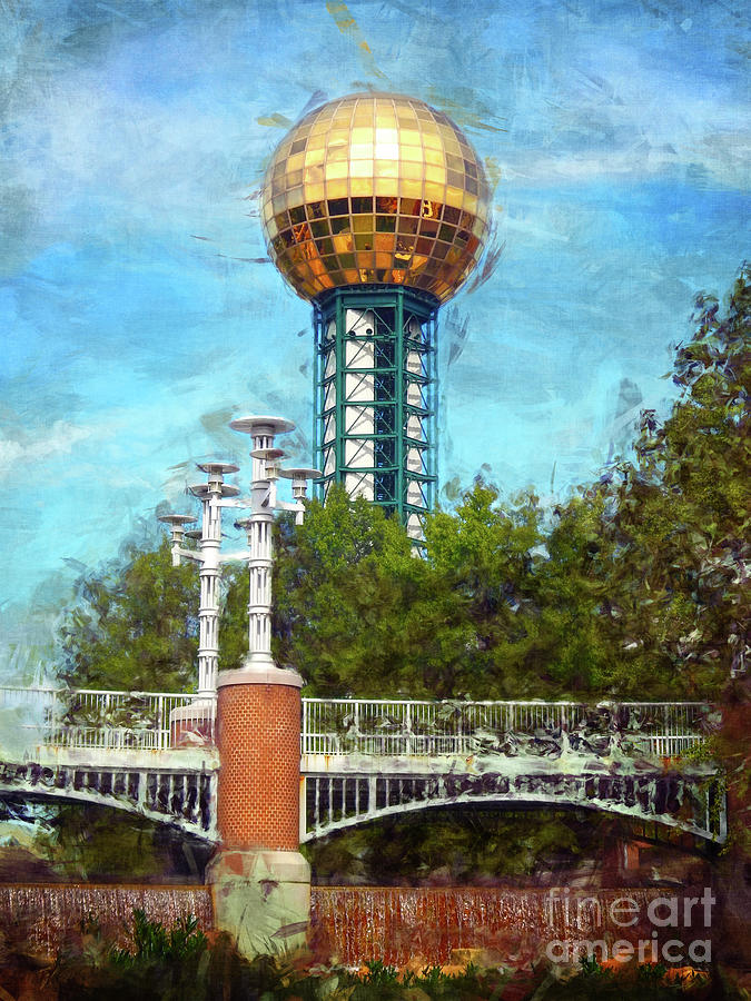 Sunsphere Digital Art - Sunsphere In Knoxville TN by Phil Perkins