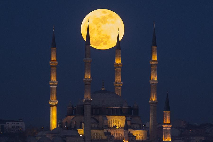 Super blue blood moon in Edirne Photograph by Anadolu Agency