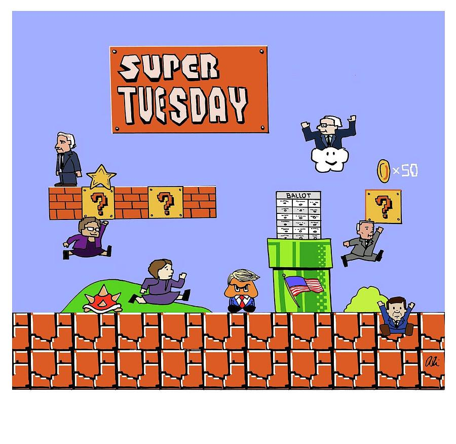 Super Tuesday Drawing by Ali Solomon
