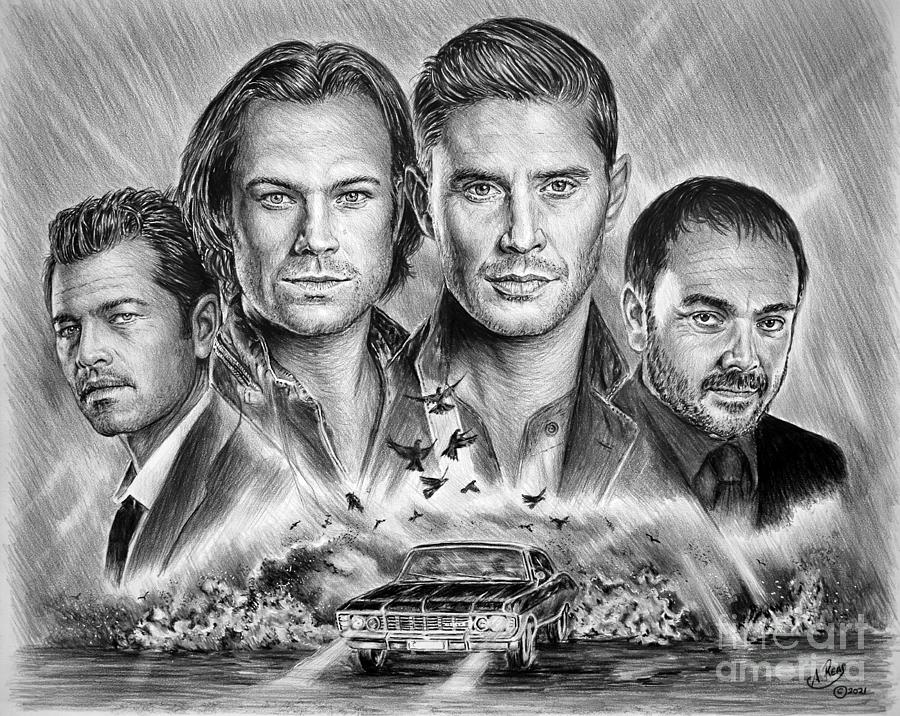 Jensen Ackles Drawing - Supernatural  by Andrew Read