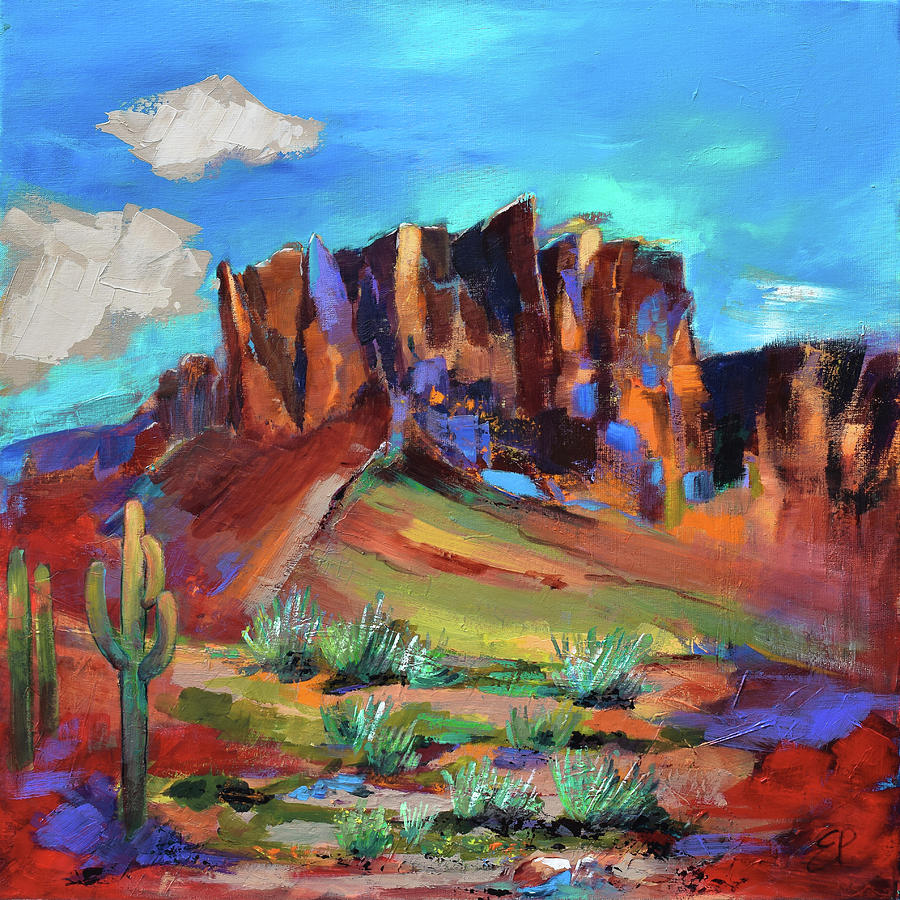 Superstition Mountains Painting - Superstition Mountains - Arizona by Elise Palmigiani