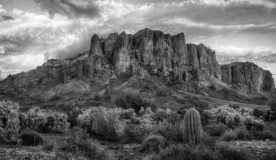 Superstition Mountains black and white by Dave Dilli
