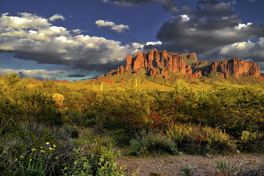 Superstition Mountains Clouds Photograph