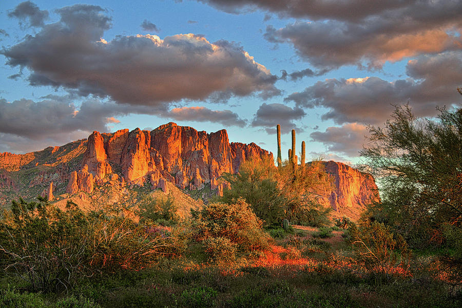 Superstition Mountains Sunset Photograph