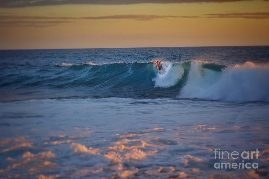 Surf And Sunset Photograph