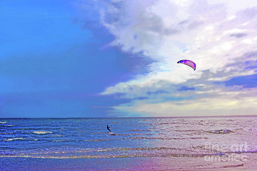 Surf, Sky And Kite Boarder Cape May Nj Photograph