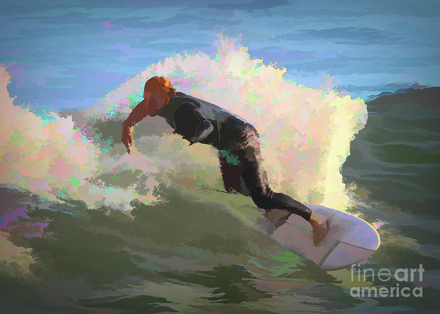 Surf Digital Art - Surfer Dude - Flat I by Chris Mautz