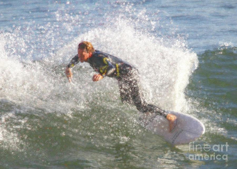 Surf Digital Art - Surfer Dude - Stamp Brush I by Chris Mautz