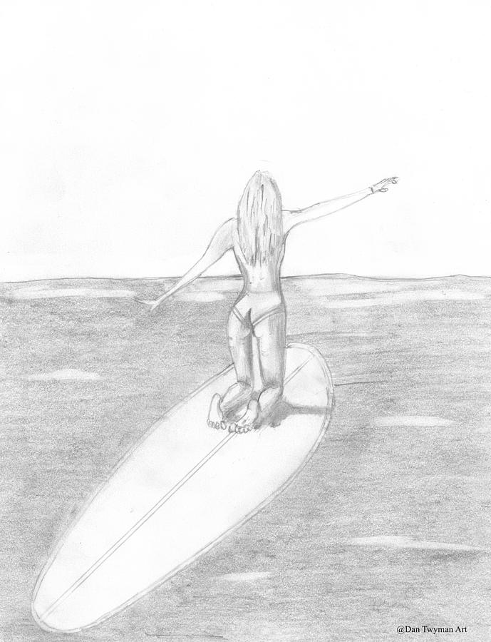 Surfer Girl Drawing