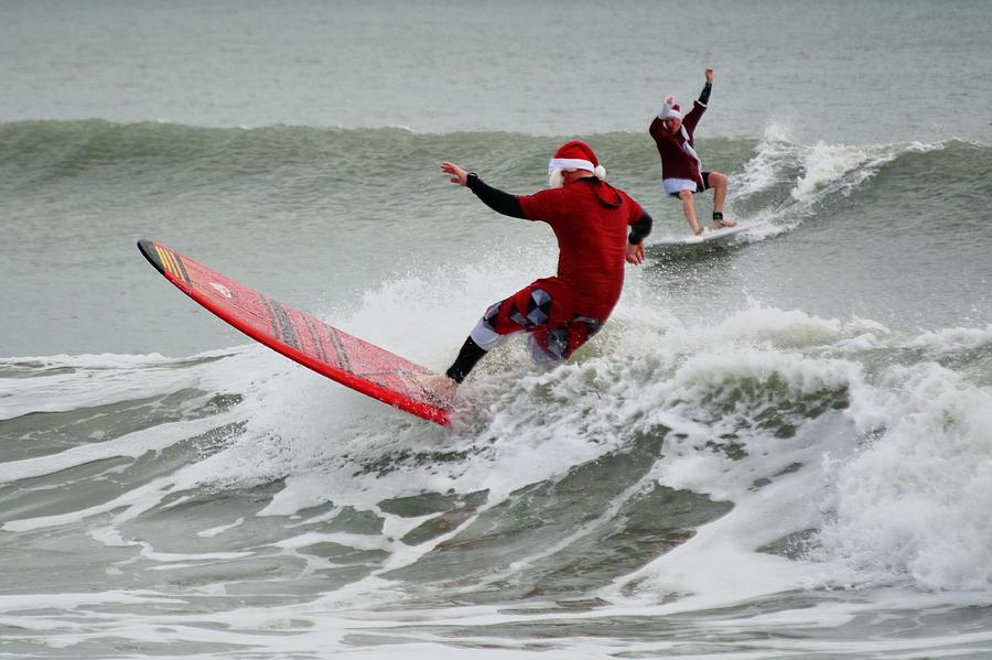 Surfing Santas 5 by Bradford Martin