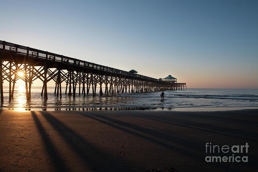 Surfing Sunrise - Folly Beach Photograph