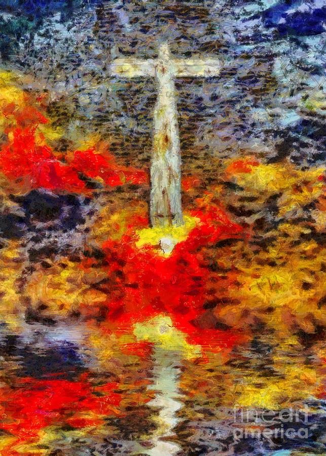 Surreal Art. Cross Above Water Surface Digital Art