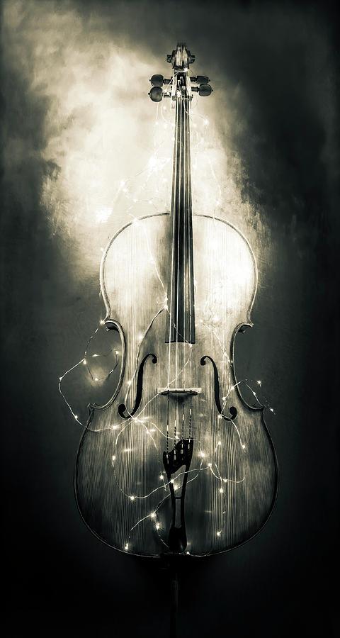 Surreal Cello in Black and White by Michele Cornelius
