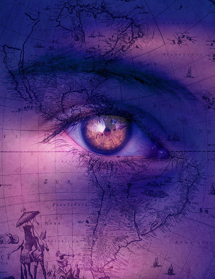 Surreal Eye And Map Digital Art